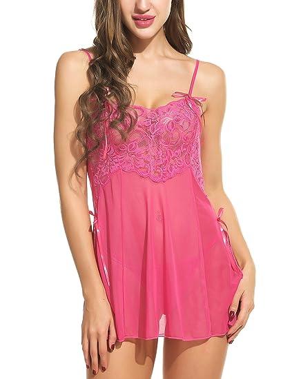 415a9d9959 Avidlove Women s Sexy Lingerie Lace Babydolls 2 Pieces Mesh Chemises  Outfit