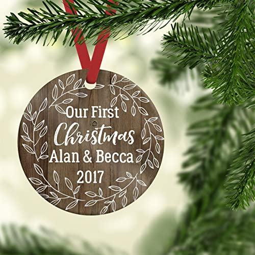first christmas couples ornament rustic ornament faux wood ornamentgirlfriend giftporcelain - Couples First Christmas Ornament