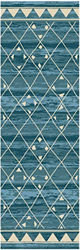 Superior Jarvis Collection Area Rug, 10mm Pile Height with Jute Backing, Fashionable and Affordable Rugs, Geometric Windowpane Pattern over Watercolor Stripes – 2 7 x 8 Runner, Blue and Beige
