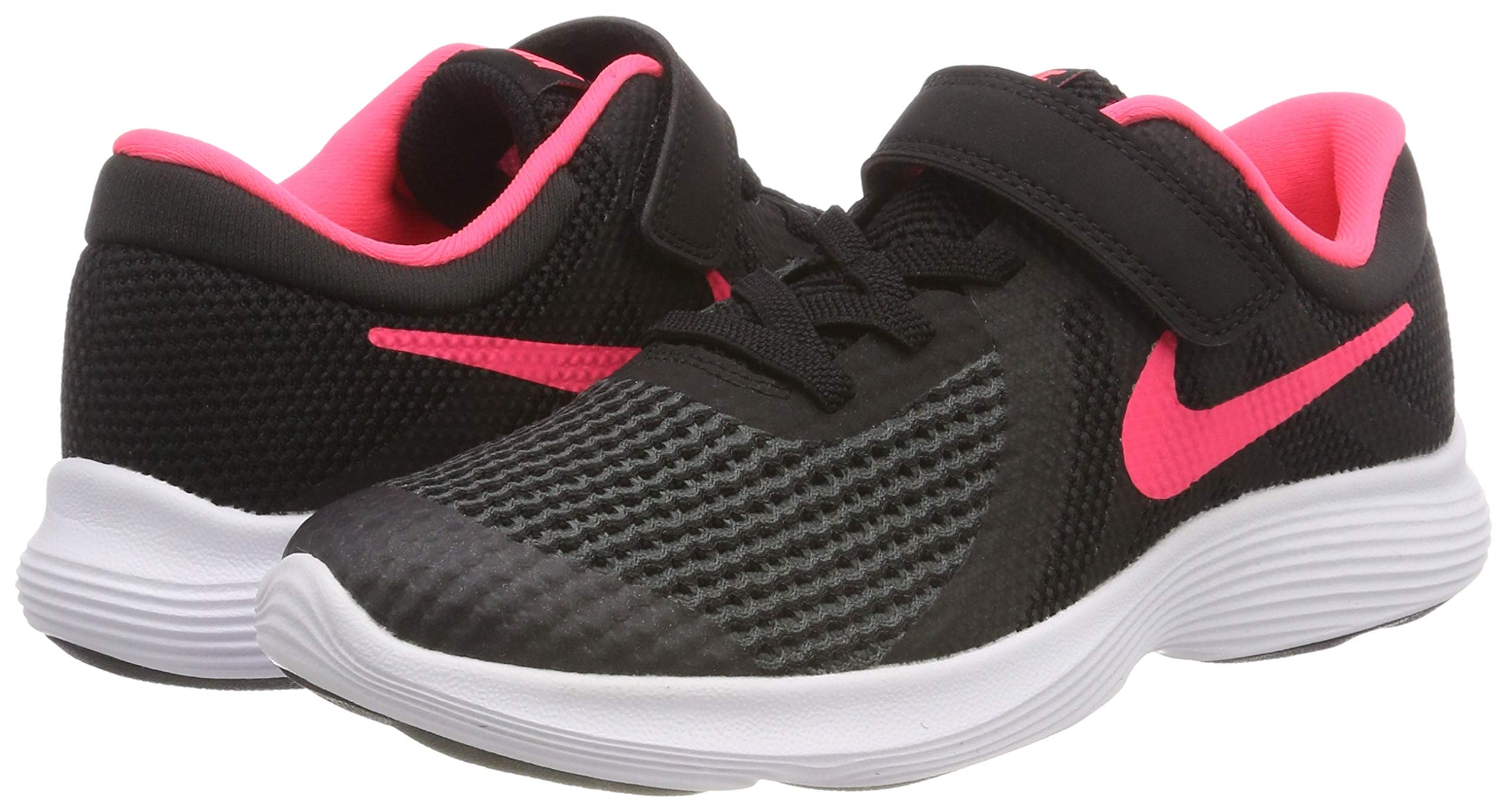Nike Girls' Revolution 4 (PSV) Running Shoe, Black/Racer Pink - White, 12C Regular US Little Kid by Nike (Image #5)