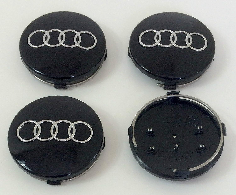 Set of Four Alloy Wheels Centre Hub Caps BLACK COVERS Badge 60mm 4B0 601 170 fits AUDI A3 A4 A5 A6 A7 A8 S4 S5 S6 S8 RS4 Q3 Q5 Q7 TT A4L A6L S line Quattro and Other Models 4B0601170 RCC___shop