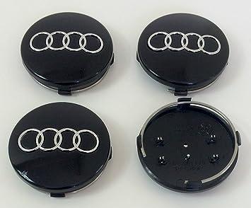 Juego de cuatro llantas de ABS, Centro Tapacubos negro cubre Badge 60 mm 4B0 601 170 para Audi ...