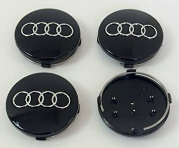 Juego de cuatro llantas de ABS, Centro Tapacubos negro cubre Badge 60 mm 4B0 601 170 para Audi A3 A4 ...