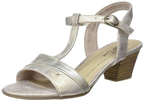 28360, Sandalias con Tira Vertical para Mujer, Dorado (Gold Comb), 37 EU Soft Line