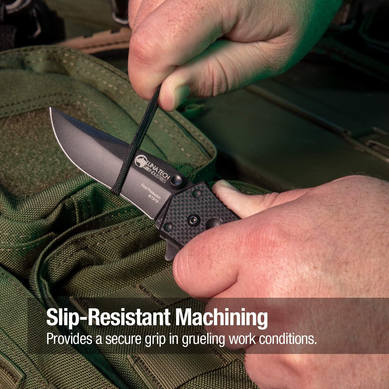 """Luna Tech, Ltk9602, 2.9\"""" Tactical Folding Knife, Kelly Worden Design, Spring Assisted, D2 Steel Blade, Slip Resistant Handle, Carbide Tip, Corrosion Resistant"""