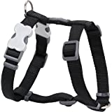 Red Dingo Plain Dog Harness, L, 25 mm/ 42 - 57 cm, 46 - 76 cm Neck Size, Classic Black