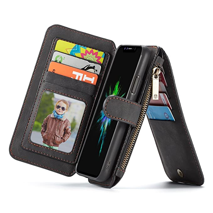 00c23d43c385 Wallet Case for iPhone XR, CaseMe Genuine Leather Zipper Flip Cover with  Detachable Folio, Magnetic Buttons, Kickstand, 13x Credit Card Slots and ...