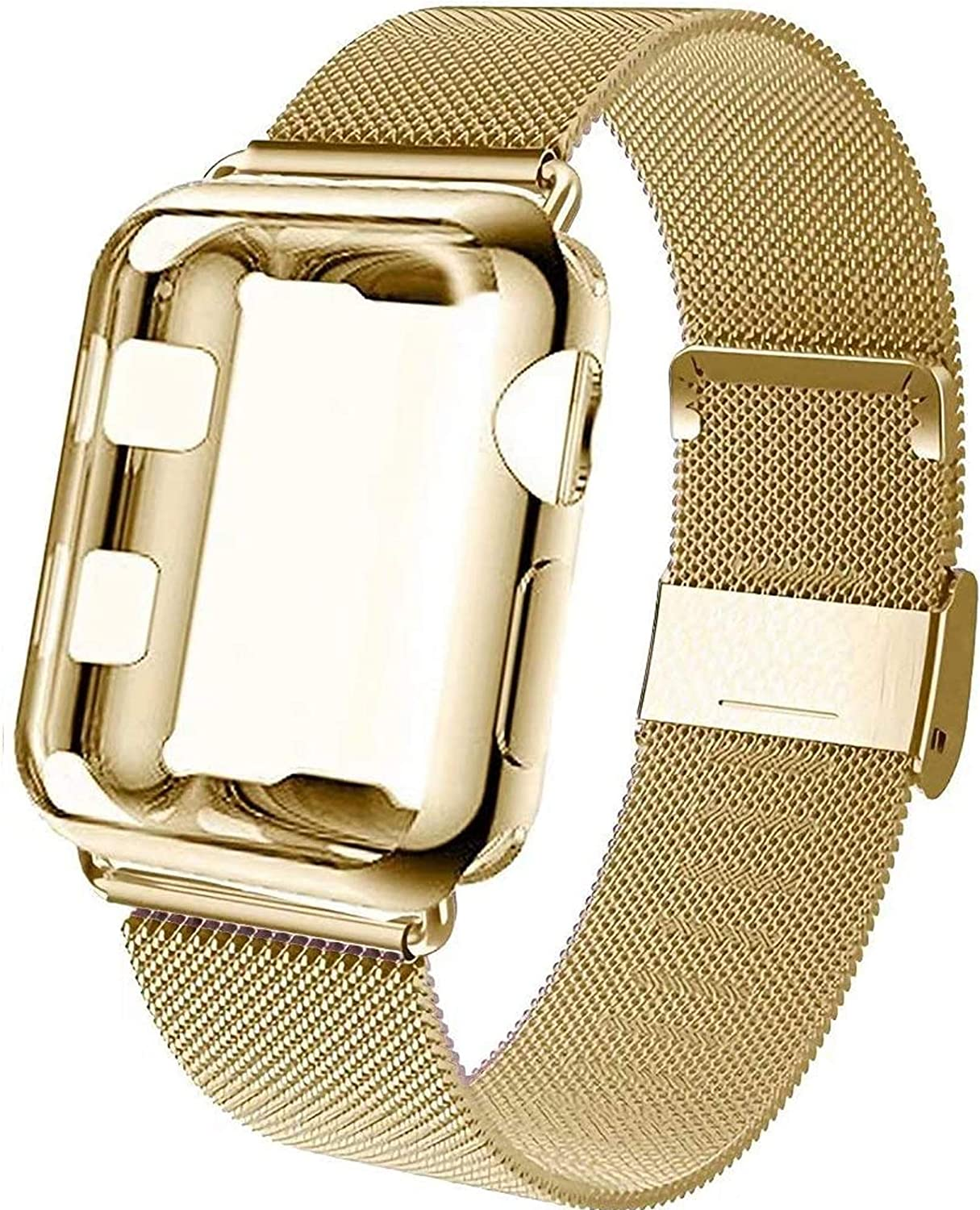 GBPOOT Compatible for Apple Watch Band 38mm 40mm 42mm 44mm with Screen Protector Case, Sports Wristband Strap Replacement Band with Protective Case for Iwatch Series 6/SE/5/4/3/2/1,44mm,Yellow Gold