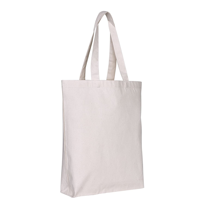 キャンバストートバッグ – with bottom gusset | 12パック|ナチュラルカラー、頑丈& Extra耐久性、再利用可能な、キャンバスクラフトTotes Craftingのデコレーション、ショッピング、ウェディング、Swagバッグ、イベントとMore 。 B07F8DC6MG