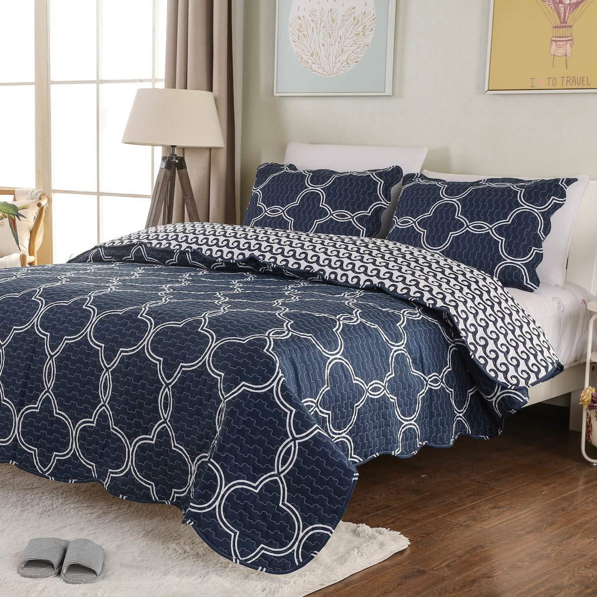 Mohap Floral Quilt Set 3 Piece Queen Size Lightweight Bedspread 1 Quilt and 2 Matching Shams for All Season Dark Blue Geometric Pattern