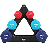 JFIT Dumbbell Hand Weight Pairs and Sets – 10 Vinyl Dumbbell Pairs Options or 7 Neoprene Dumbbell Rack Set Options – Premium