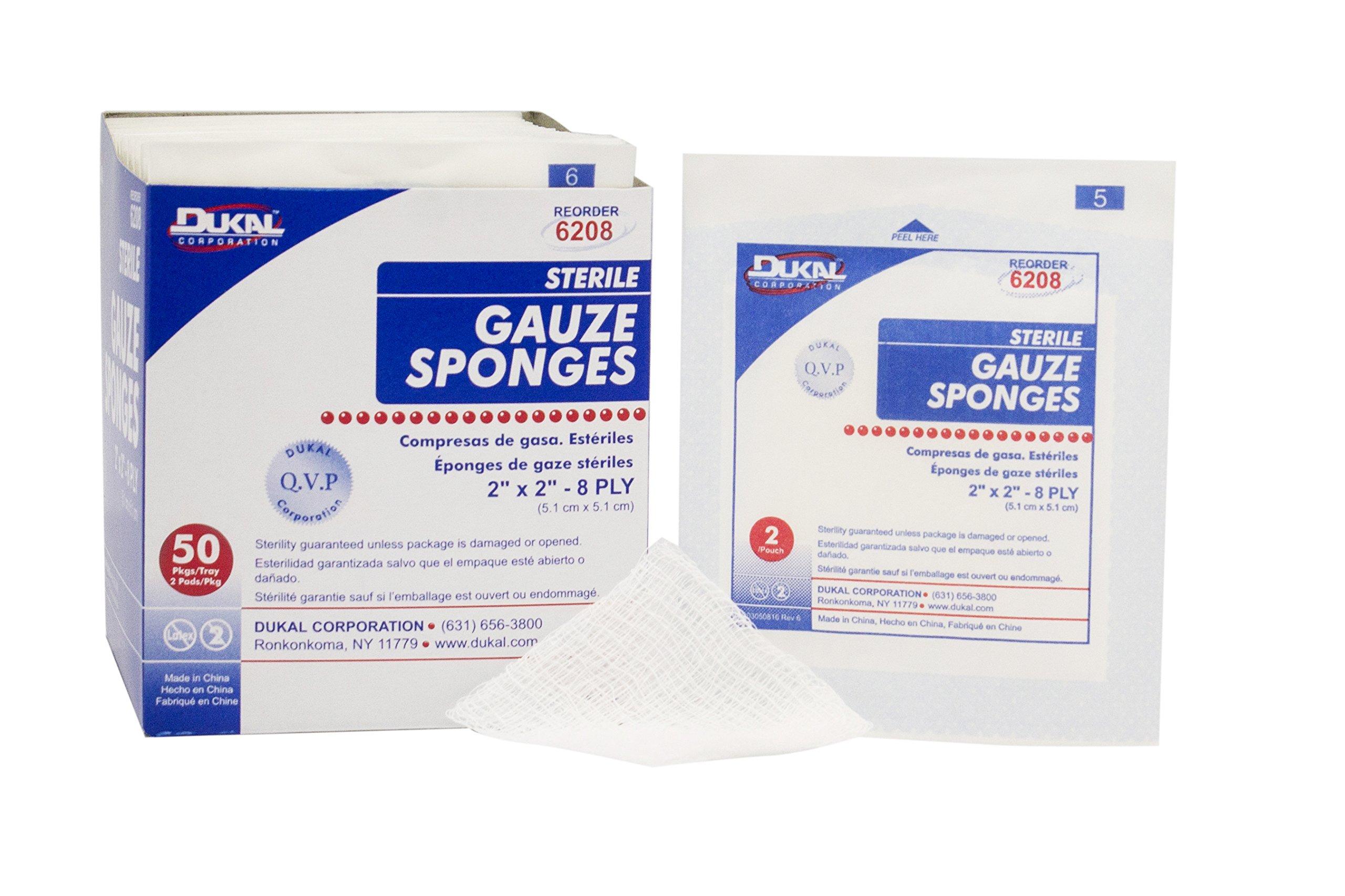 Dukal 6208 Gauze Sponge, 8-Ply, Sterile, 2'' x 2'', White (Pack of 3000)
