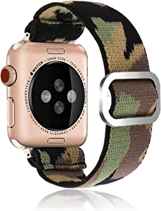 Adjustable Elastic Strap Band for Apple Watch, 38mm 40mm, Men and Boys Camouflage Band Strap Bracelet Scrunchie Watch Band for iWatch Series 1 2 3 4 5 6 SE