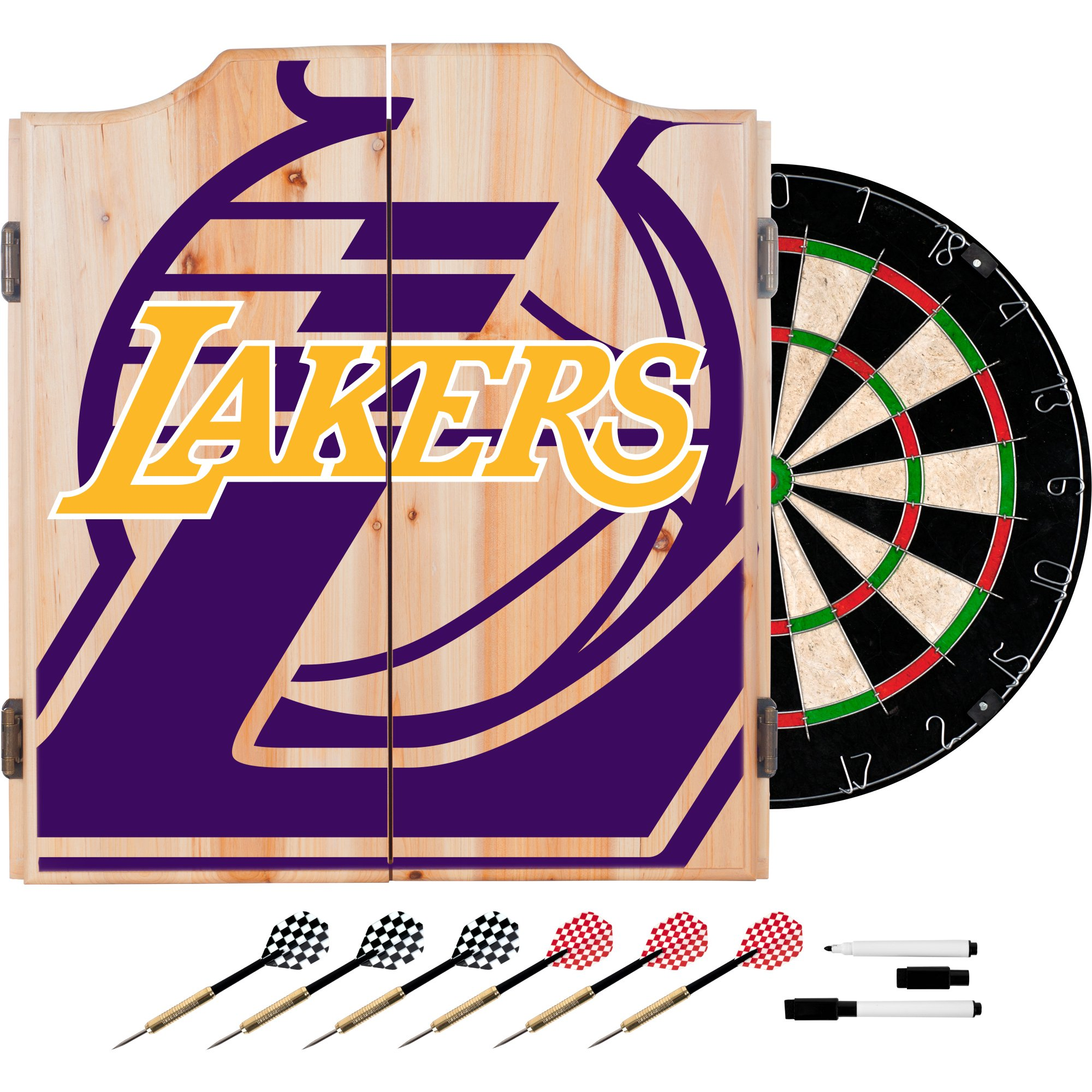 Trademark Gameroom NBA7010-LAL2 NBA Dart Cabinet Set with Darts & Board - Fade - Los Angeles Lakers