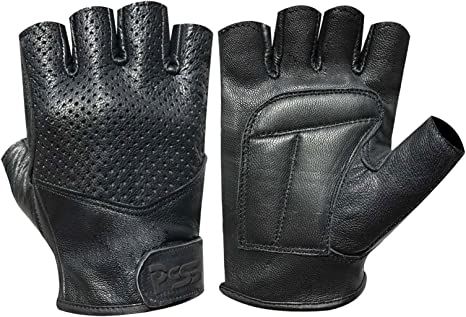 New Perforated Leather Bus Driving Gloves Finger Less Weight Lifting Wheelchair