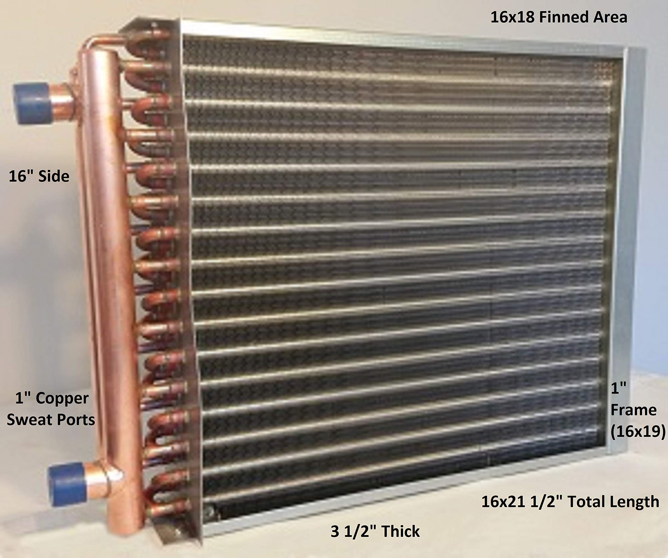 16x18 Water to Air Heat Exchanger~1'' Copper Ports w/EZ Install Front Flange