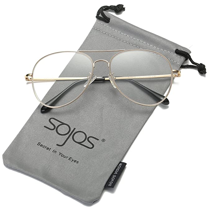 9cf526f1822 SOJOS Aviator Eyewear with Spring Hinges and Gold Frame for Men and Women  (Clear Lens