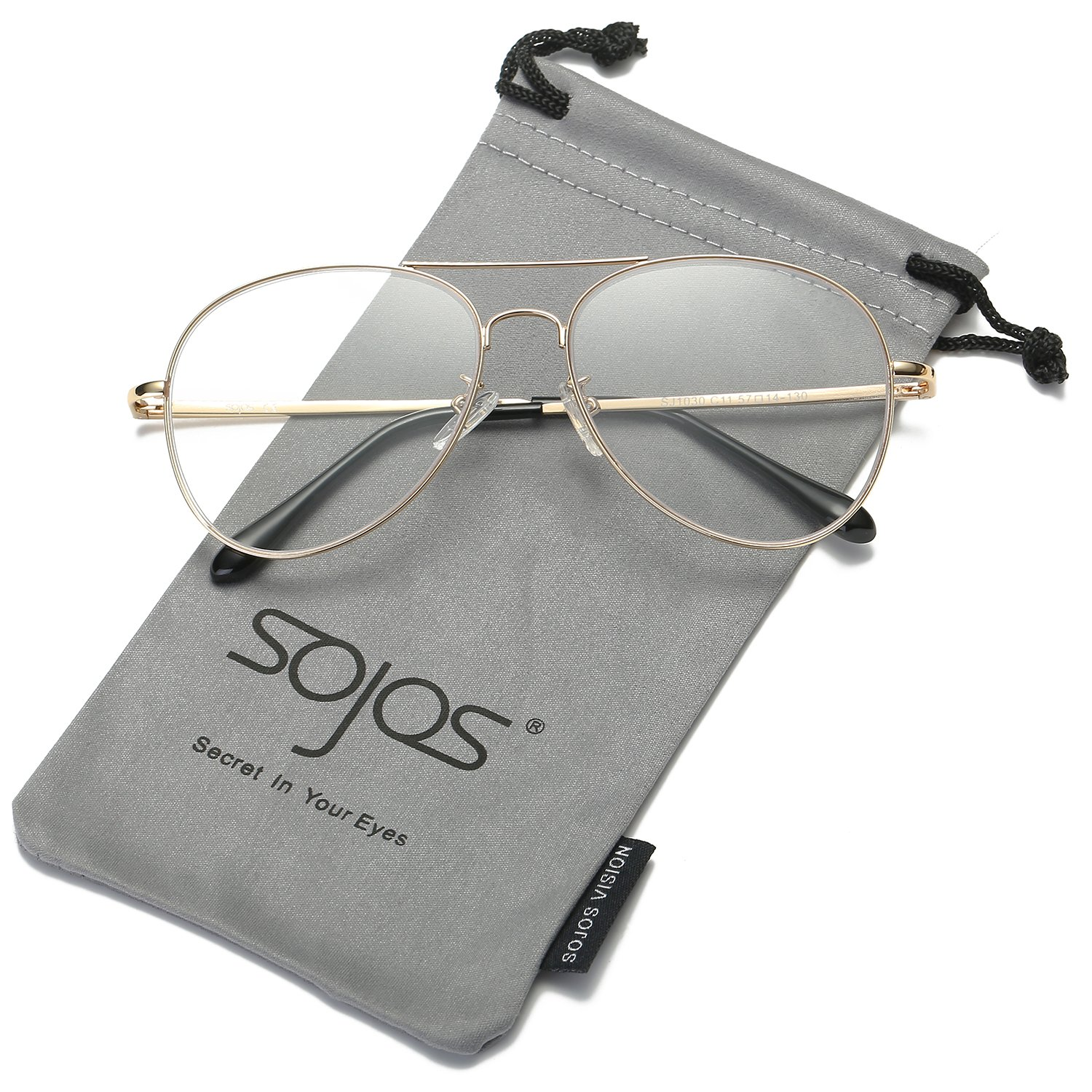 SOJOS Classic Aviator Clear Lens Eyeglasses Eyewear Metal Frame with Spring Hinges SJ1030 with Gold Frame/Clear Lens