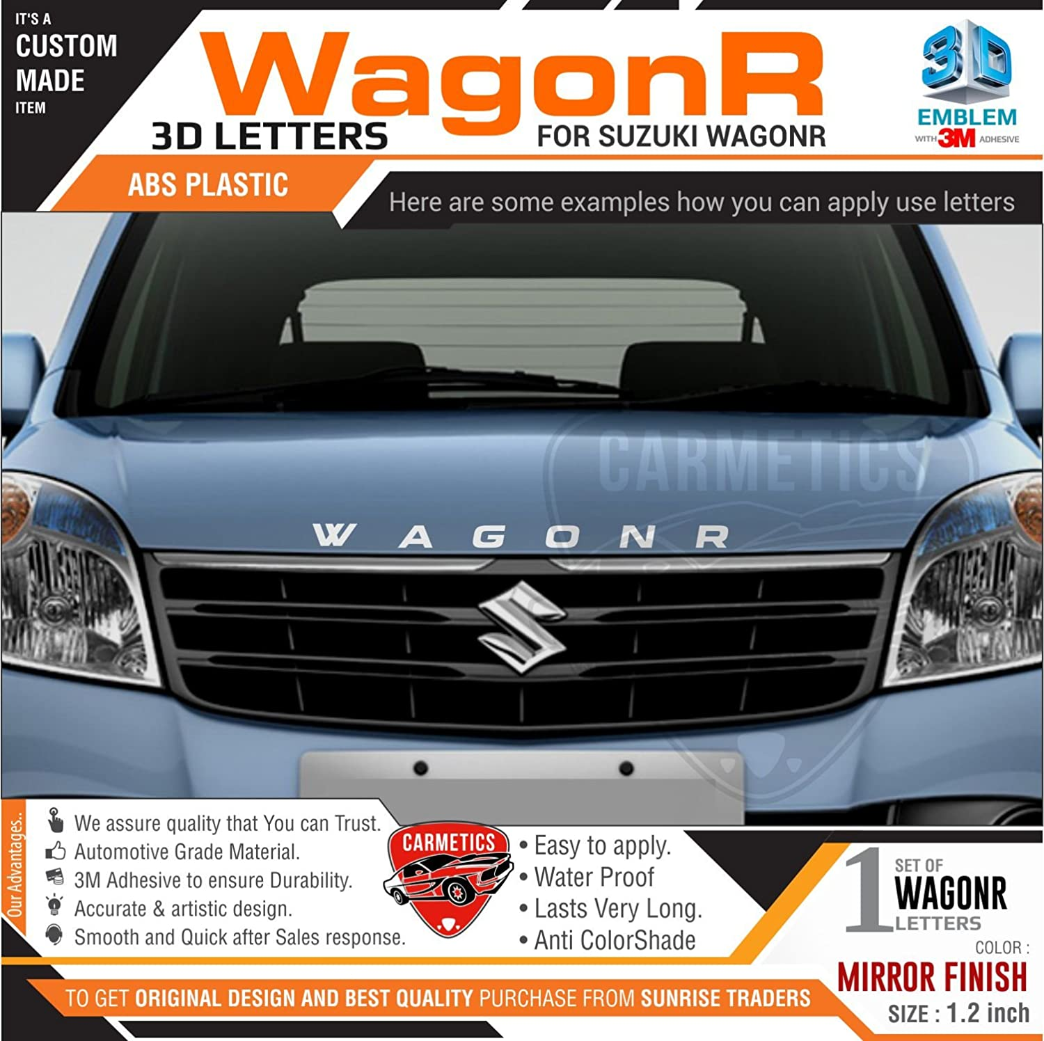 Carmetics wagonr 3d letters for maruti suzuki wagonr mirror finish amazon in car motorbike