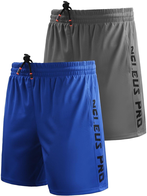 Neleus メンズドライフィットショーツ ポケット付き B077Q8B9JZ M,6056# 2 Pack:blue,grey