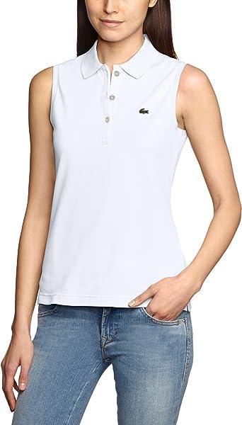 Lacoste - Polo con Cuello de Polo sin Mangas para Mujer, Talla 36, Color Blanco 001: Amazon.es: Ropa y accesorios