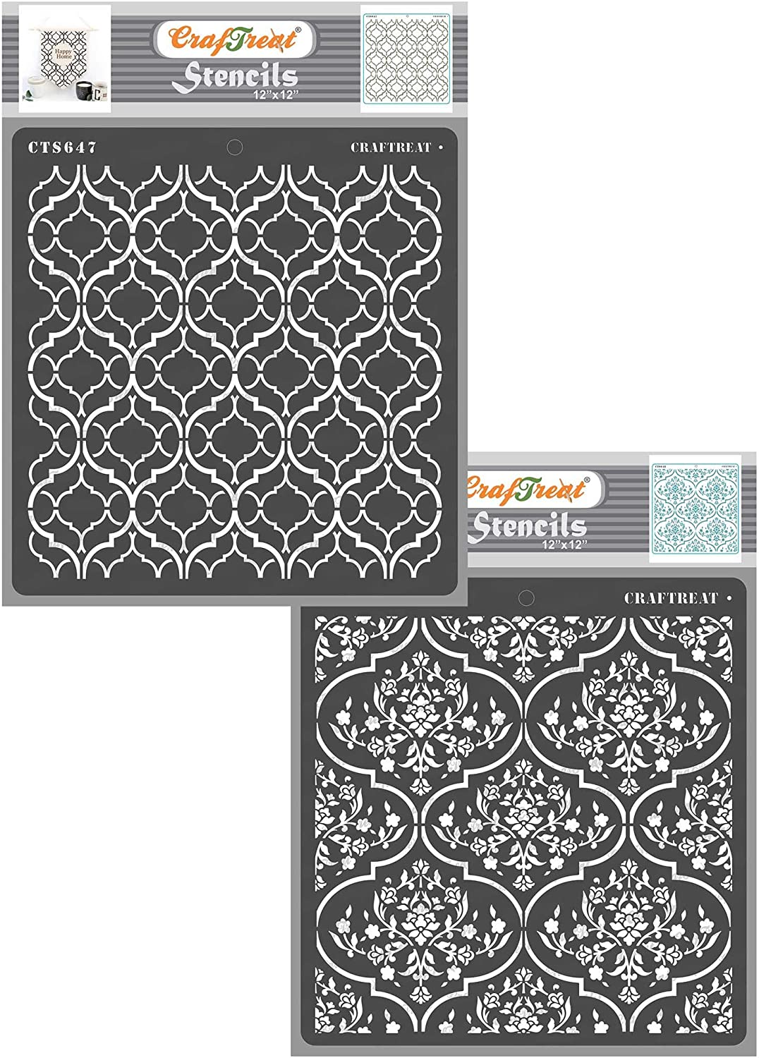 CrafTreat Trellis Stencils for Painting on Wood - Trellis in Trellis and Floral Trellis - 12X12 Inches - 2 Pcs - Moroccan Trellis Stencil for Furniture Painting - Background Stencils for Scrapbooking