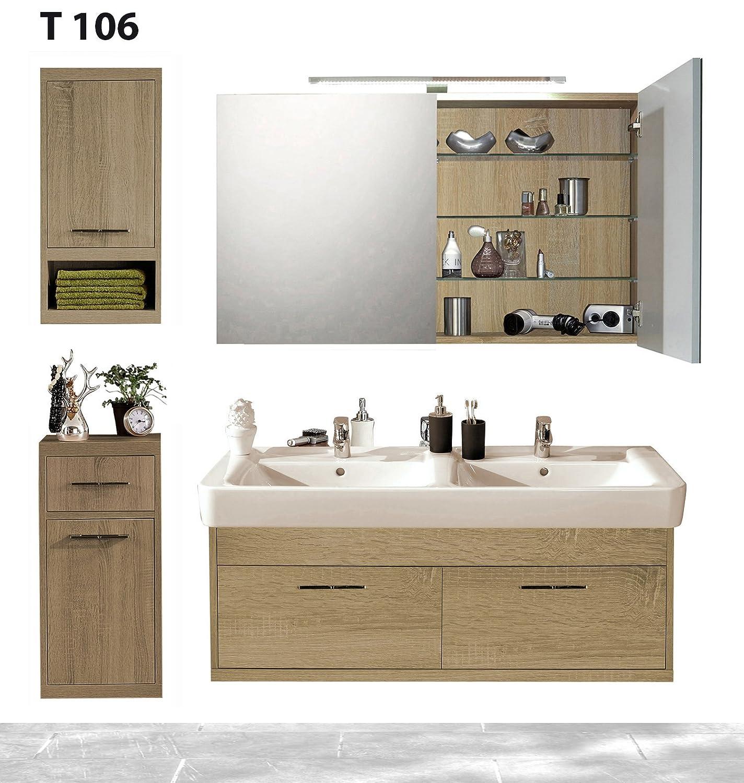 Badserie Timbery T106, Waschtisch, Spiegelschrank, Ober-u. Unterschrank in SOE