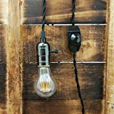 Whirled Planet Single Black Socket Vintage-style Pendant Light Cord w/ Dimmer, 11 Ft Twisted Cloth Cord (Black)