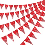5 Pack Bandana Pennant Banner Christmas, Wild West Party Accessory for Western Cowboy Themed Party Decoration, 7.4 x 10.8 Inc