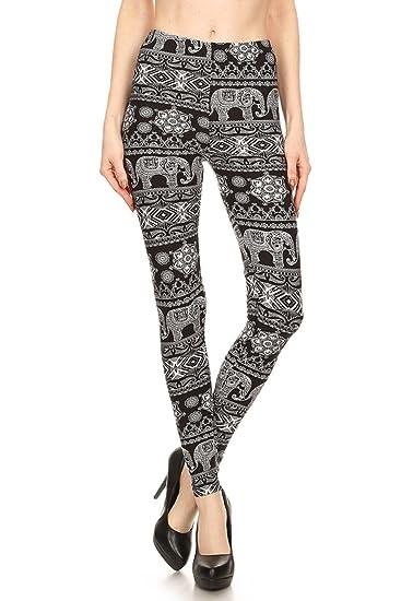 1da34b5e871a59 Leggings Mania Womens Elephant Print Full Length High Waist Leggings Black  White