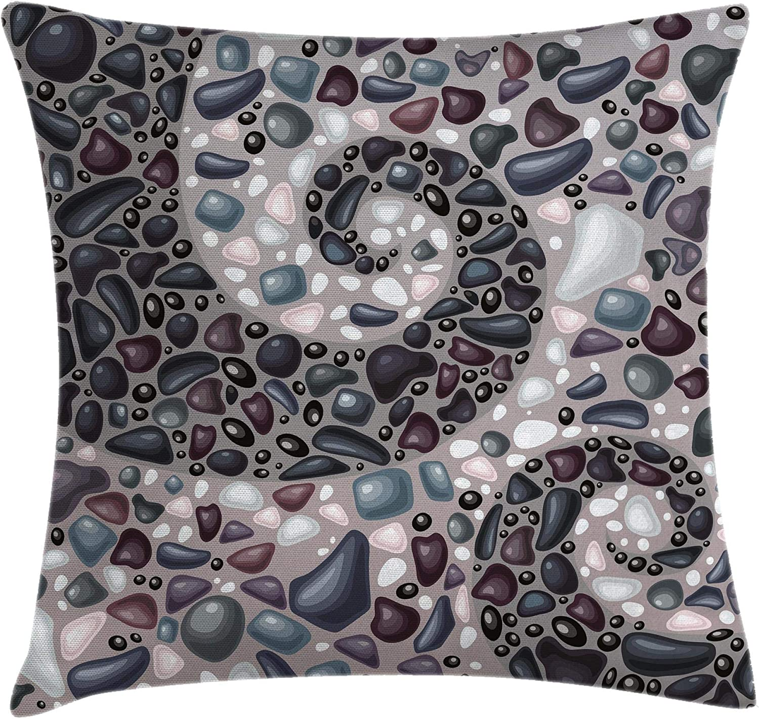 Ambesonne Nature Throw Pillow Cushion Cover, Garden Mountains Volcanic Stones Image of Pebbles on Cement Print, Decorative Square Accent Pillow Case, 16