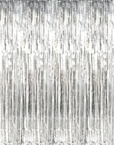 GOER 3.2 ft x 9.8 ft Metallic Tinsel Foil Fringe Curtains for Party Photo Backdrop Wedding Decor (Silver,1 Pack)