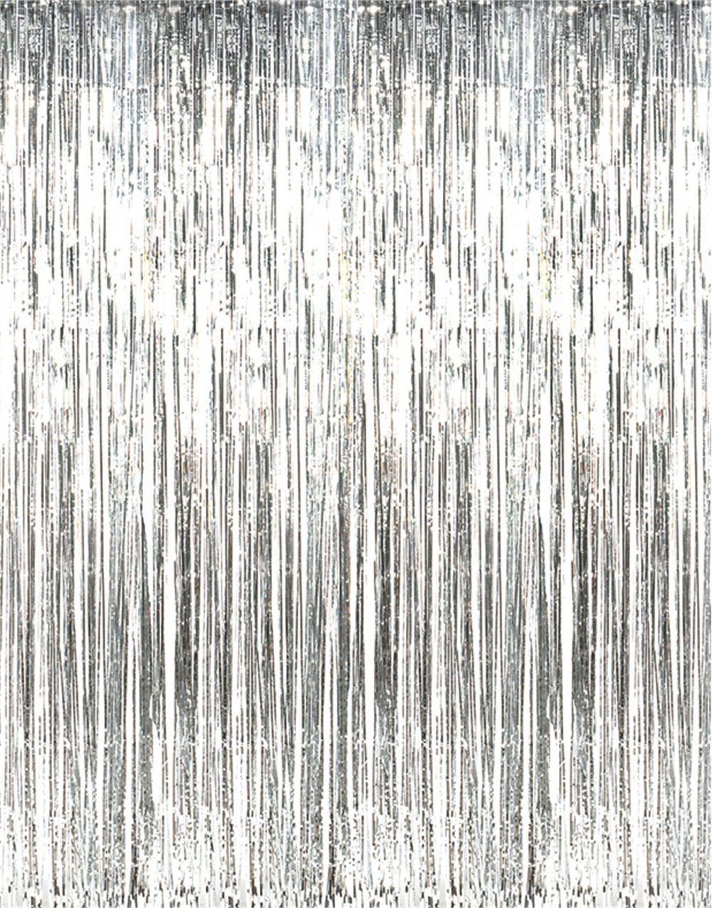 GOER 3.2 ft x 9.8 ft Metallic Tinsel Foil Fringe Curtains for Party Photo Backdrop Wedding Decor (Silver,5 pcs)