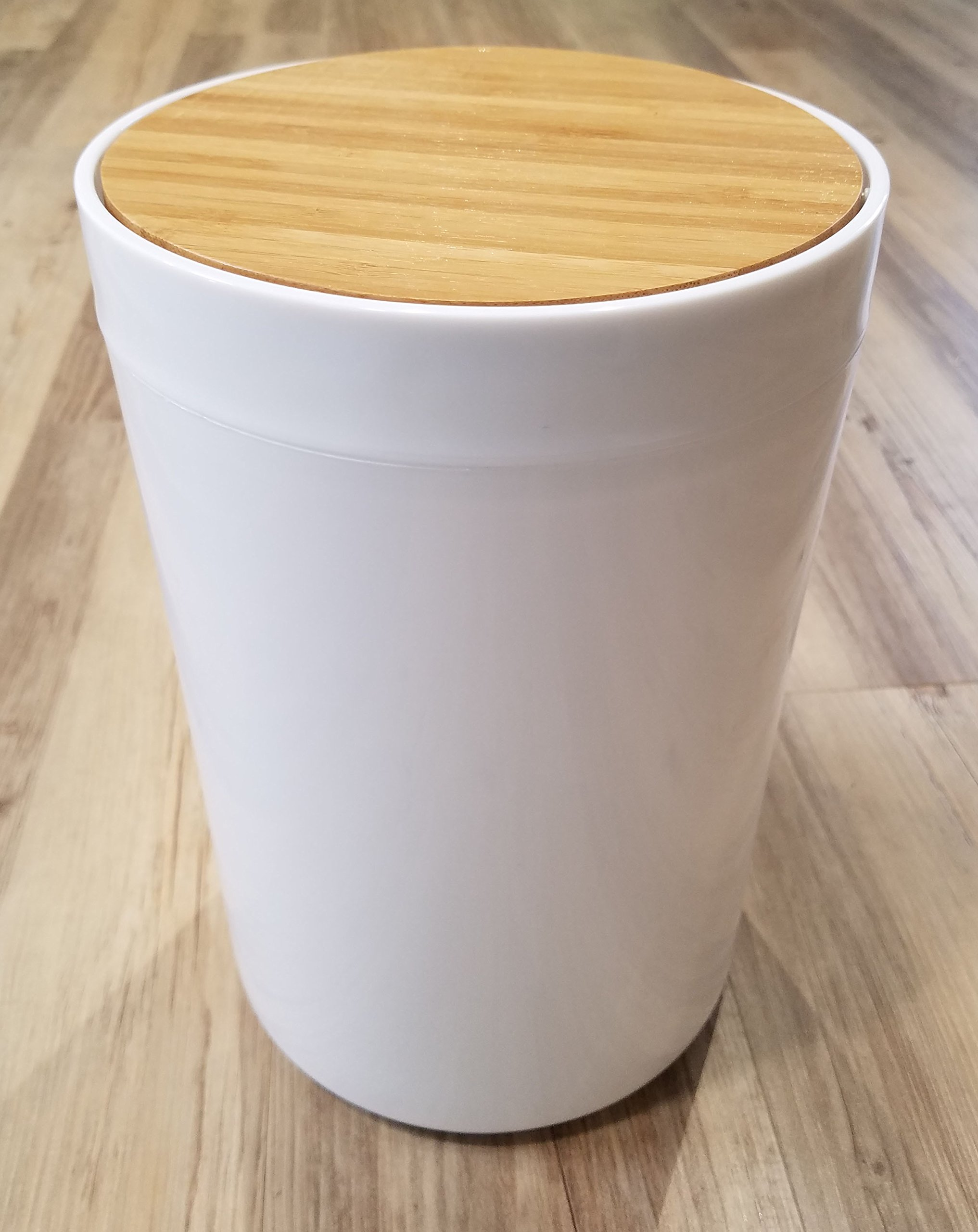 EVIDECO Round Bathroom Floor Trash Can Padang, White/Brown by EVIDECO (Image #2)