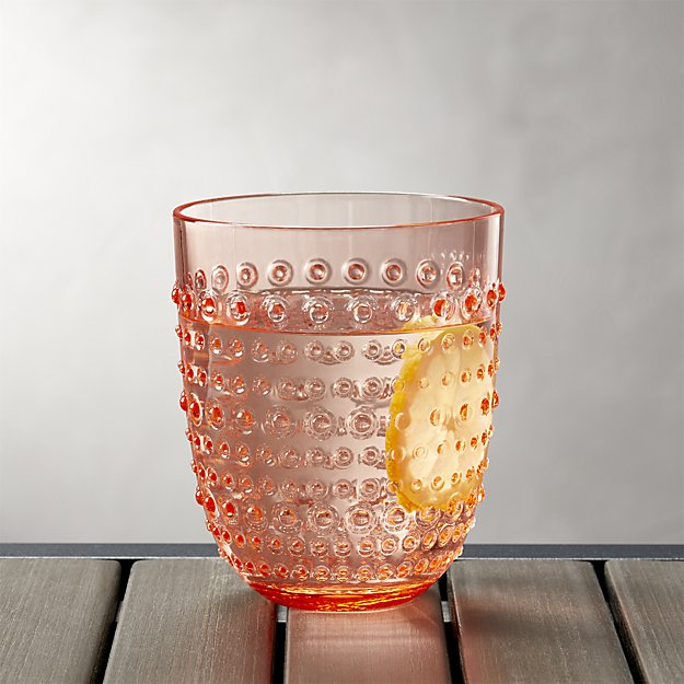 Dottie Orange Acrylic 17 oz. Drink Glass | Crate and Barrel