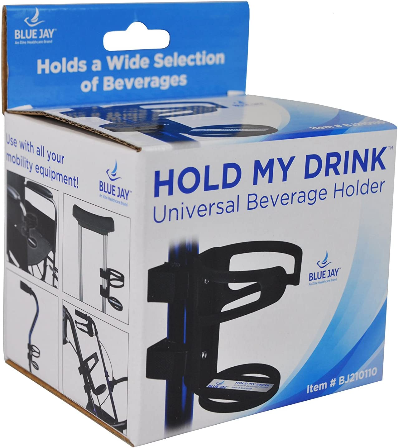Blue Jay Hold My Drink Universal Beverage Holder – Use with All Your Mobile Equipment, Holds Beverages, Easy, Attach and Adjust, Black, Non-Slip Strip, Flexible Cup Holder