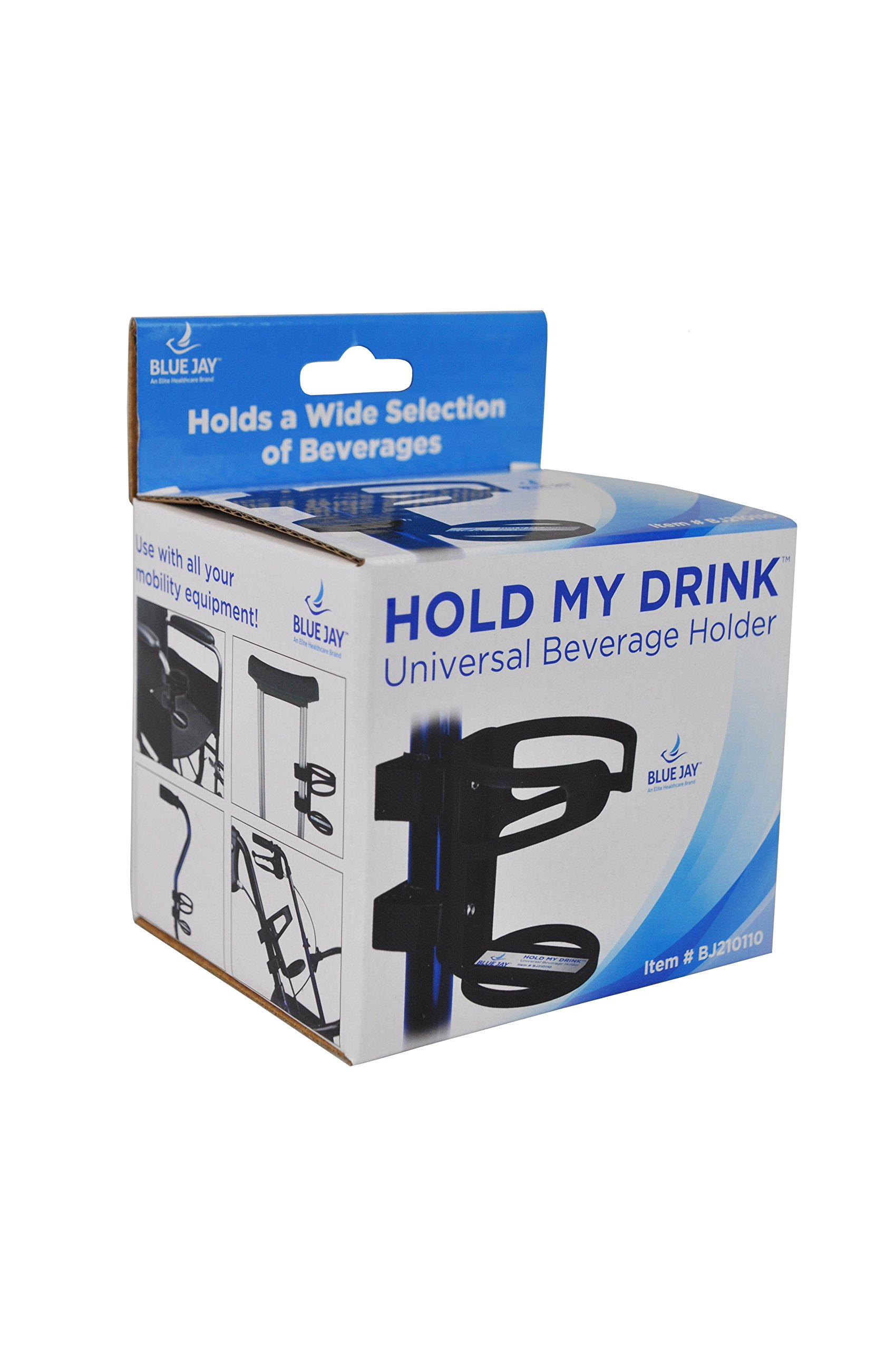 Blue Jay™ Hold My Drink Universal Beverage Holder, Use With All Your Mobil Equipment, Holds A Wide Selection Of Beverages Just Attach and Adjust, No Tools Required, Black, Non-Slip Strip, Flexible by Blue Jay An Elite Healthcare Brand (Image #2)