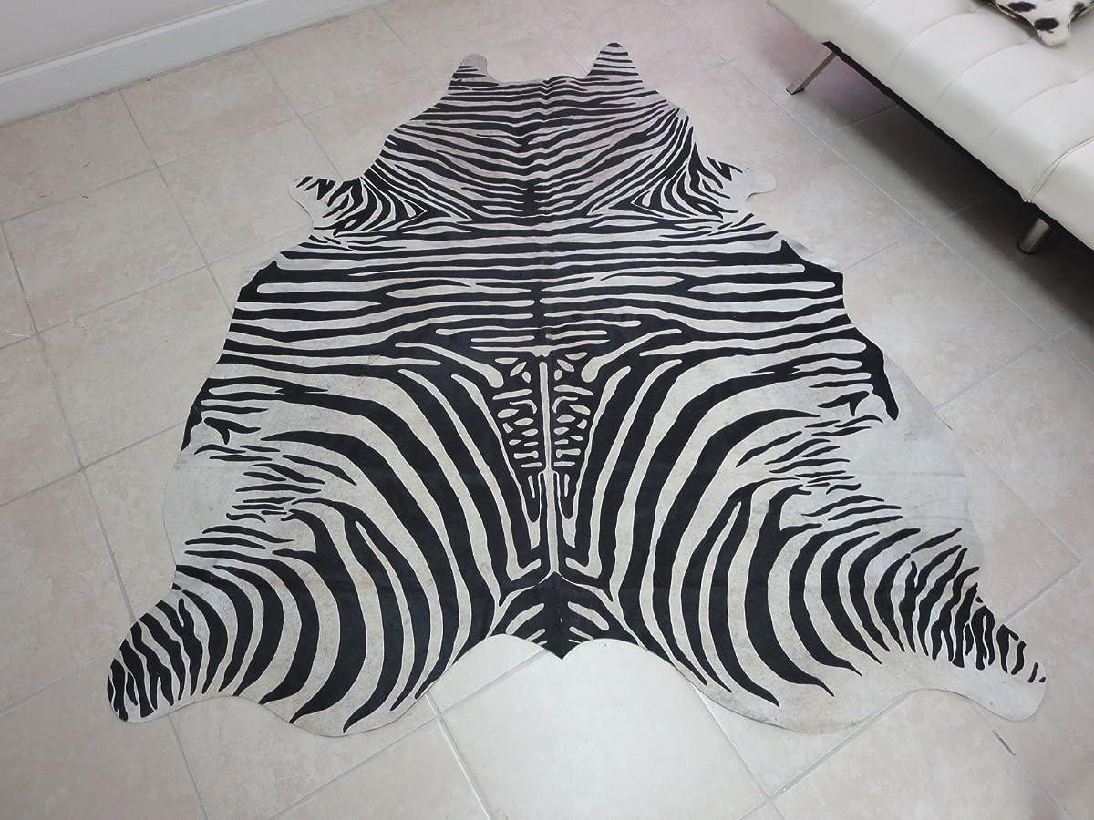 Zebra Print Hair On Leather Pure Brazillian Cowhide Rug