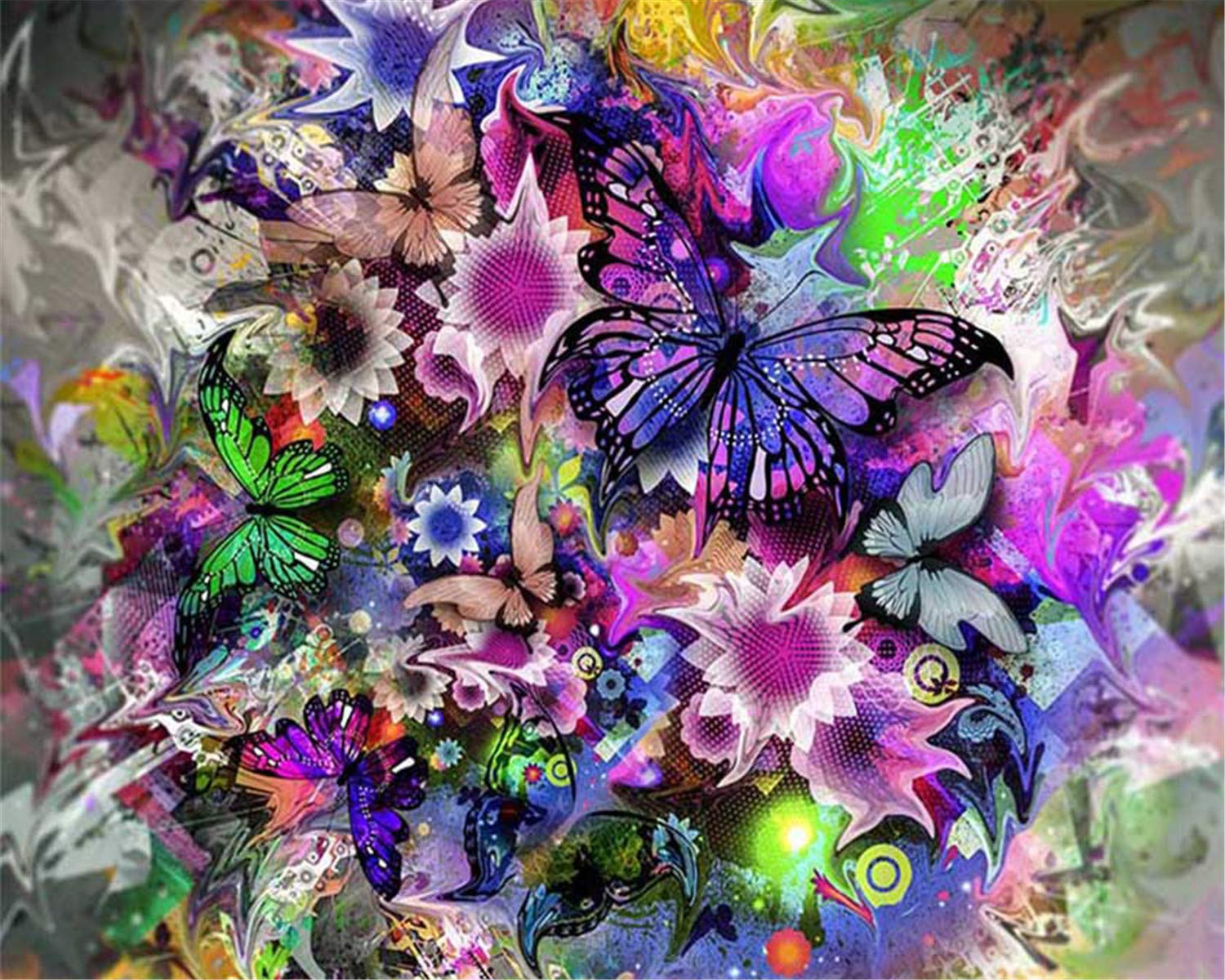Full Drill Colorful Butterflies Crystal Rhinestone Embroidery Cross Stitch Kits Craft for Home Wall Decor 12x16inch EOBROMD DIY 5D Diamond Painting by Number Kits
