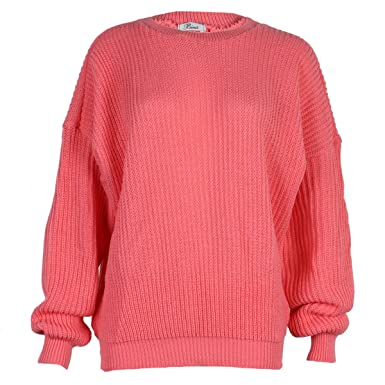 Image Unavailable. Image not available for. Colour  9L Womens Coral Ladies  Oversized Knitted Baggy Chunky Jumper Sweater ... 3e806b8c6