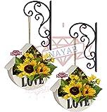 NAYAB (Set of 2) Hanging Planters Iron L Brackets/Wall Planter Hook/Flower Pot Bird Feeder Wind Chime Lanterns Hanger (Scrolled (Set of 2))