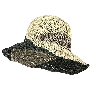 ililily Raffia Paper Patterned Big Brim Sun Hat Summer Wired Floppy Hat  Fedora 74060e8553d8