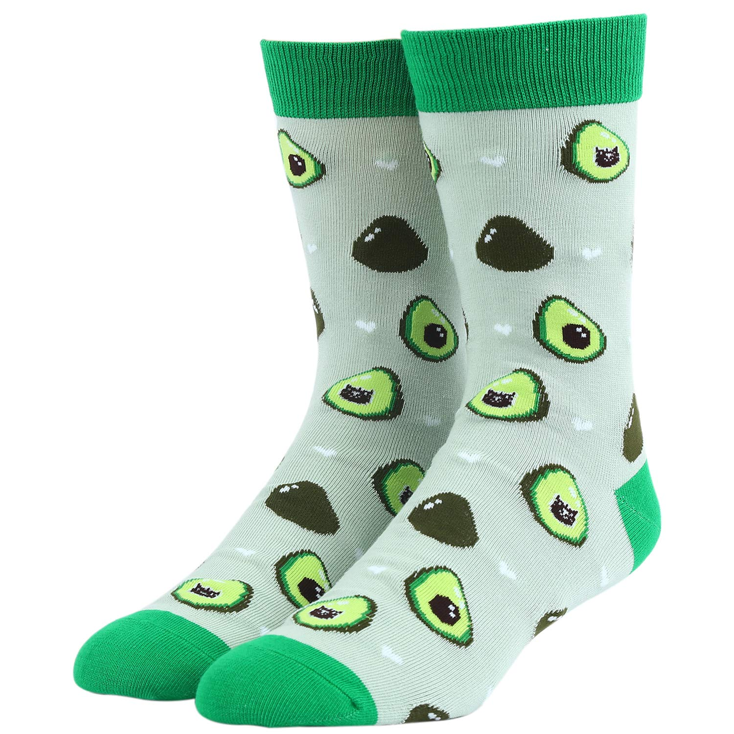 Mens Funny Novelty Crew Socks Pineapple Avocado
