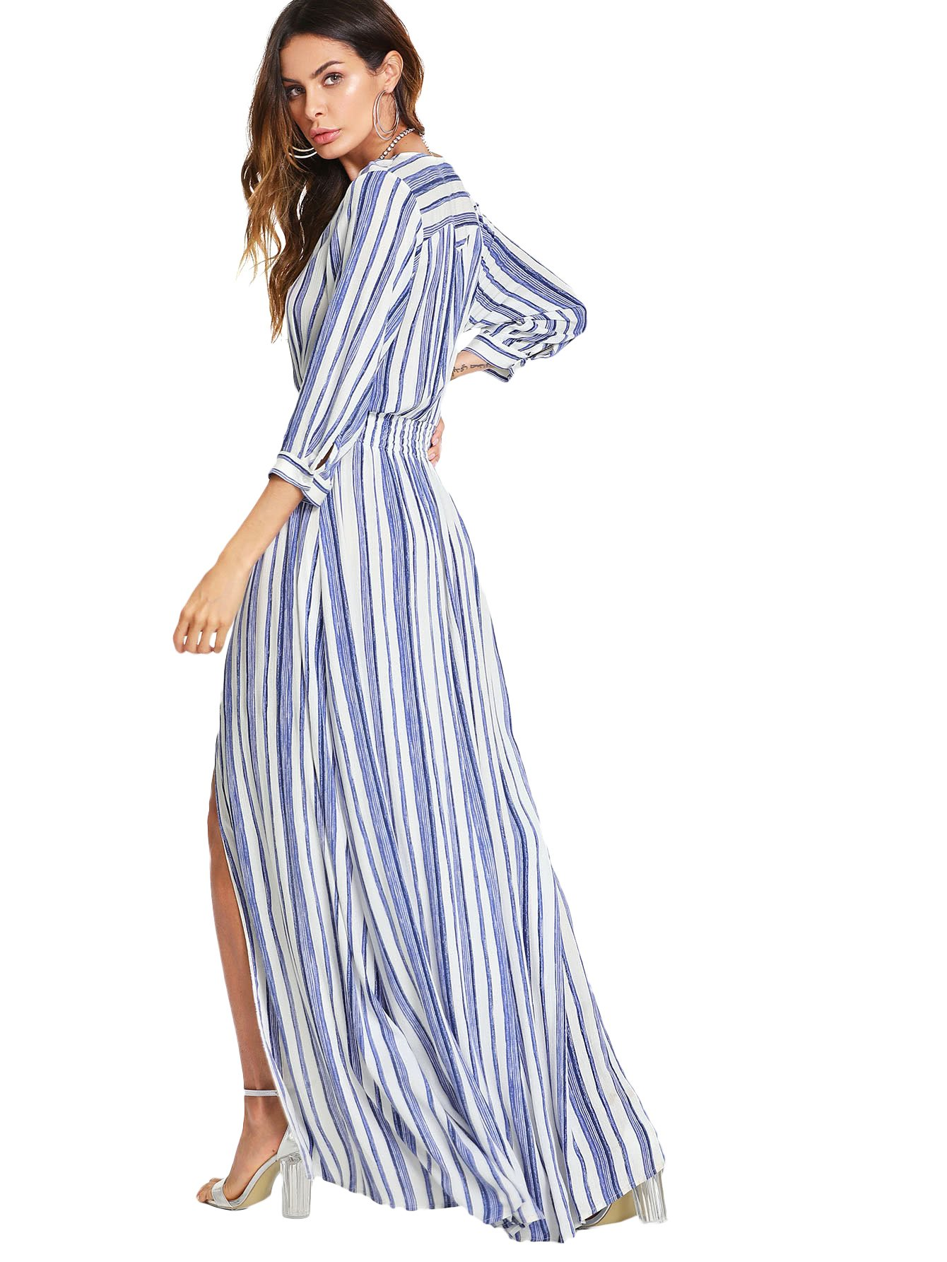 Milumia Stripe Dress, Women Smocked Waist 3 4 Sleeves Button up Summer Chic Blue and White S by Milumia (Image #2)