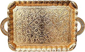 Turkish Ottoman Coffee Tea Beverage Serving Square Tray (Gold)
