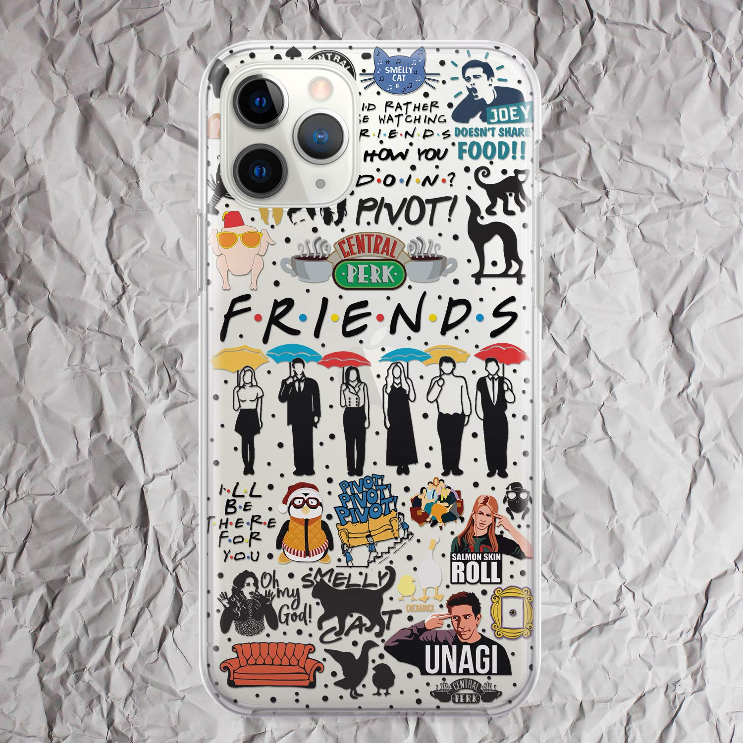 Iphone 11 Case Friends TV Show Cell i Phone Case for iPhone 7 8 6 6s plus X 10s Xs 11 Pro Max Xr 10r 5 5s se 5se Central Perk coffee mug Joey Ross Monicas Door Merchandise Gifts Clear Silicone Cover