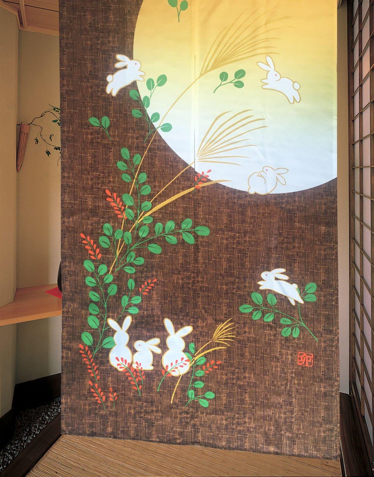 LifEast Japanese Noren Cute Running Rabbits Under Full Moon Kawaii Door Curtain (brown) by LifEast