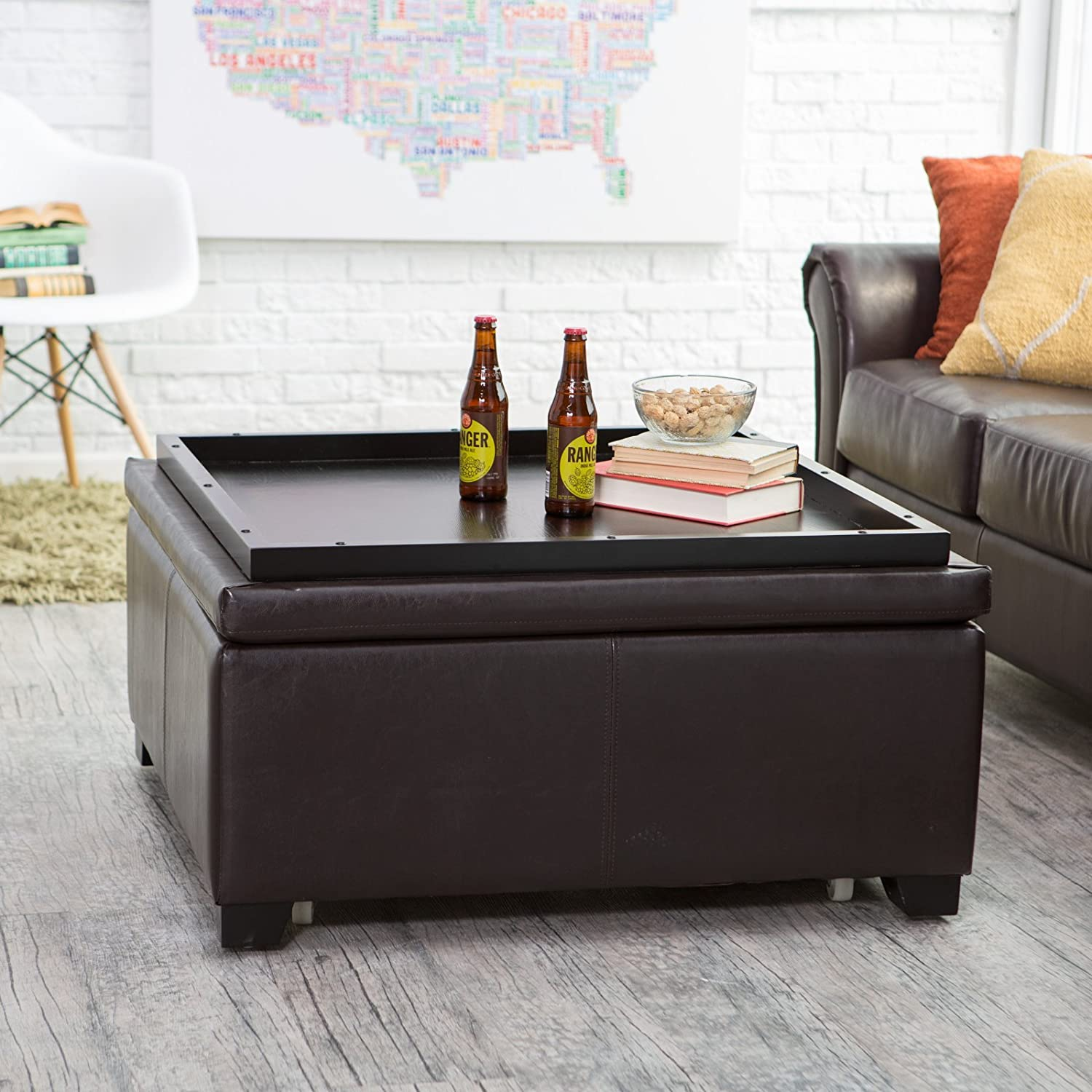 Amazon Com Home Collection Rich Brown Bonded Leather Square Storage Ottoman Cocktail Ottoman Coffee Table With Tray Top Living Room Furniture Furniture Decor
