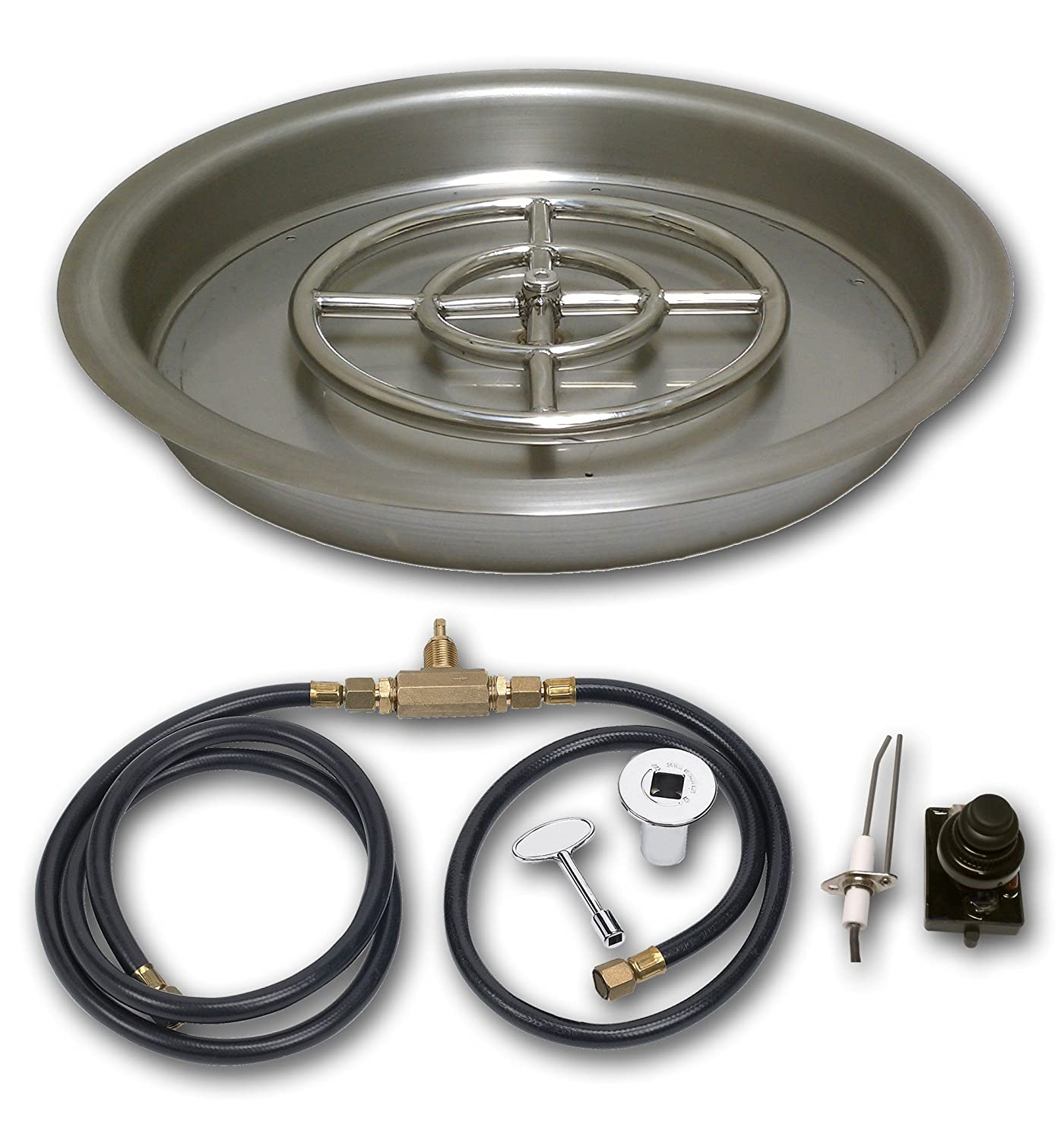 Amazon.com : American Fireglass Spark Ignition Fire Pit Kit  (SS-RSPKIT-N-19), Round Bowl Pan, Natural Gas, 19-Inch : Garden & Outdoor - Amazon.com : American Fireglass Spark Ignition Fire Pit Kit (SS
