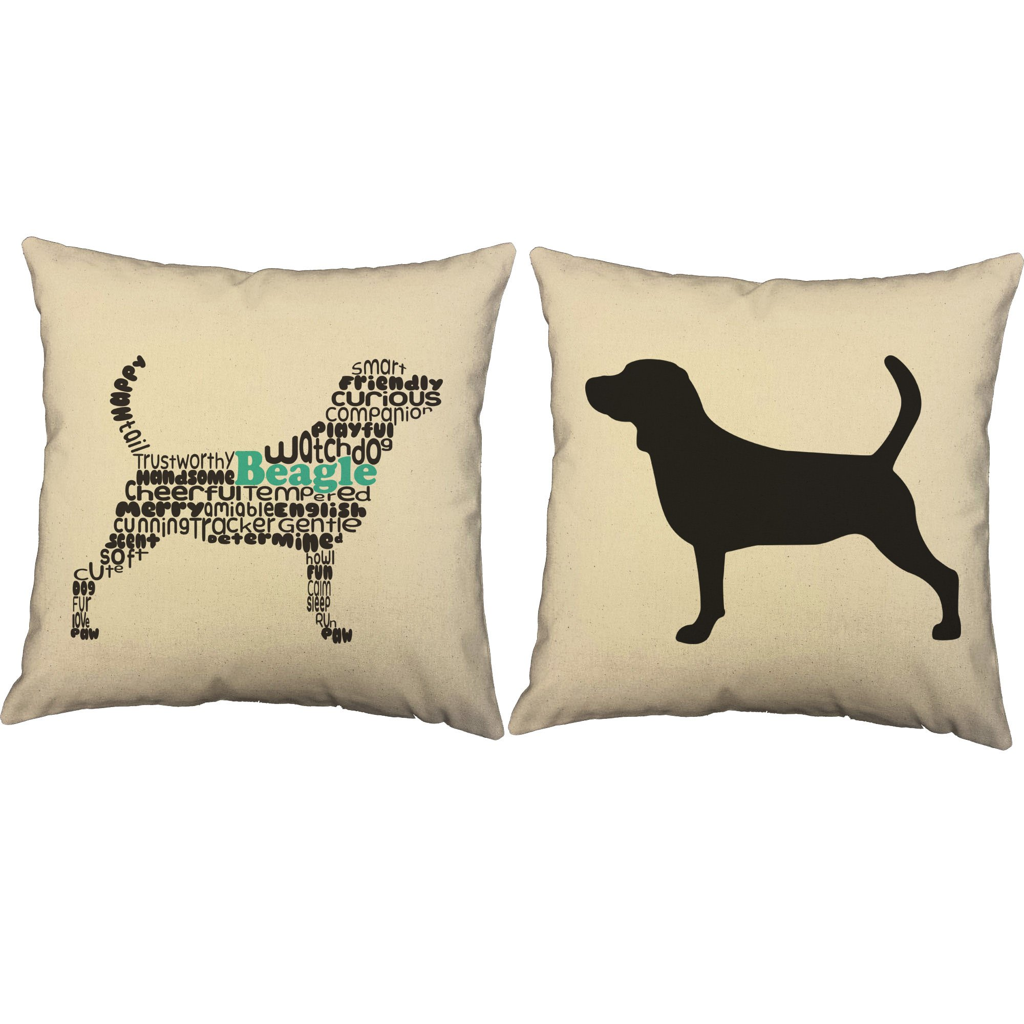 Set of 2 RoomCraft Typography Beagle Throw Pillows 20x20 Square Natural Cotton Dog Breed Cushions